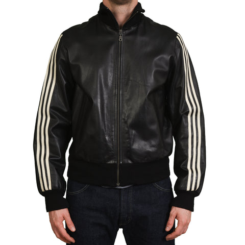 Yohji Yamamoto Y-3 Stripes Adidas Black Leather Retro Track Jacket Size S M