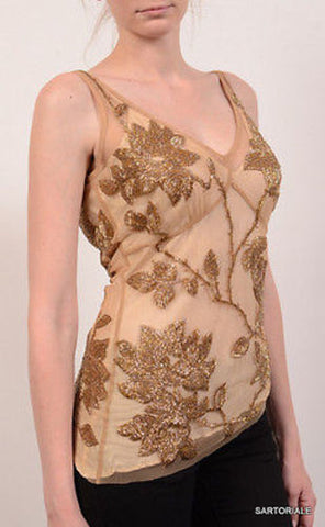 TRACY REESE Gold Floral Beaded Top NEW US 4 - SARTORIALE - 1