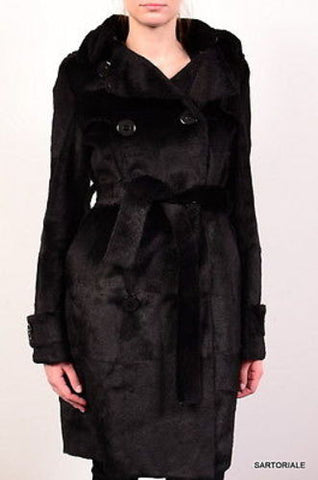 "HOCKLEY London ""Claudia"" Black Sheared Rabbit Trench Coat EU 42 NEW US 10 M - SARTORIALE - 2"