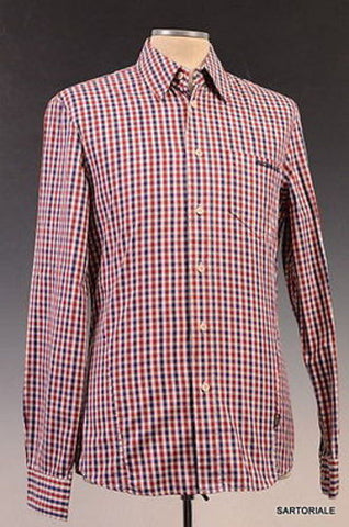 MOSCHINO Red-Blue Gingham Check Cotton Slim Fit Casual Shirt US M EU 50 - SARTORIALE - 1