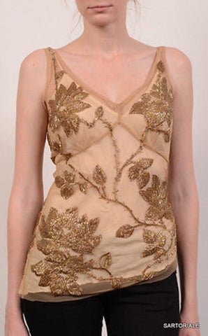 TRACY REESE Gold Floral Beaded Top NEW US 4 - SARTORIALE - 2