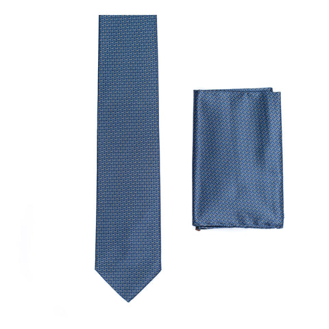 BRIONI Handmade Blue Stork Design Silk Tie Pocket Square Set NEW
