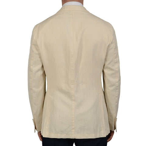 "BOGLIOLI Milano ""Coat"" Beige Herringbone Cotton Linen Unlined Jacket 50 NEW US 40"