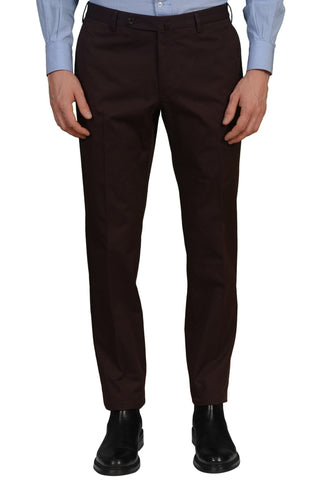 INCOTEX (Slowear) Chocolate Brown Cotton Twill Flat Front Slim Fit Pants NEW