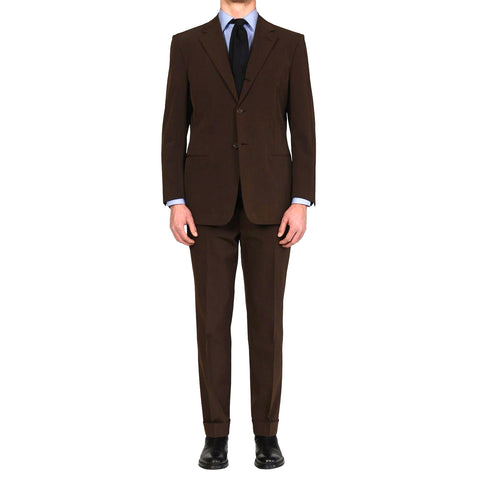 D'AVENZA Roma Handmade Brown Polyester Suit EU 52 NEW US 42