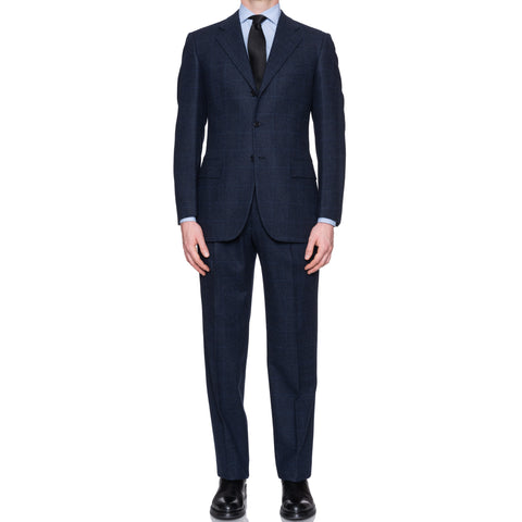 Sartoria CESARE ATTOLINI for M. Bardelli Blue Plaid Wool Super 120's Suit 48 NEW 38