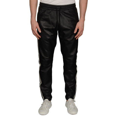 Rare ADIDAS x JEREMY SCOTT Black Luxe Leather Track Pants NEW Size M A/W 2014