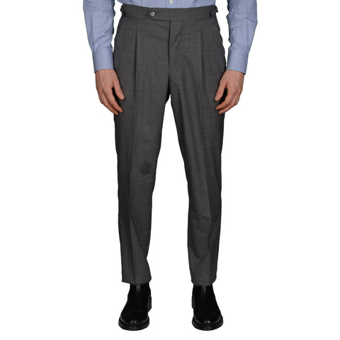 AMBROSI Napoli Bespoke Gray VBC Wool Super 120's SP Dress Pants EU 50 US 34