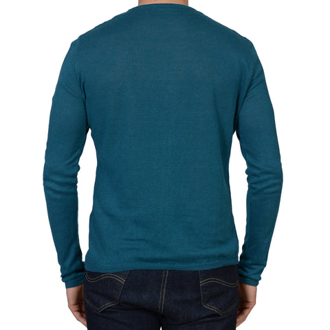ANDERSON & SHEPPARD Blue Linen Long Sleeves Crewneck T- Shirt NEW L