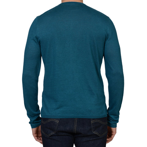 ANDERSON & SHEPPARD Blue Linen Long Sleeves Henley Neck T- Shirt NEW XL