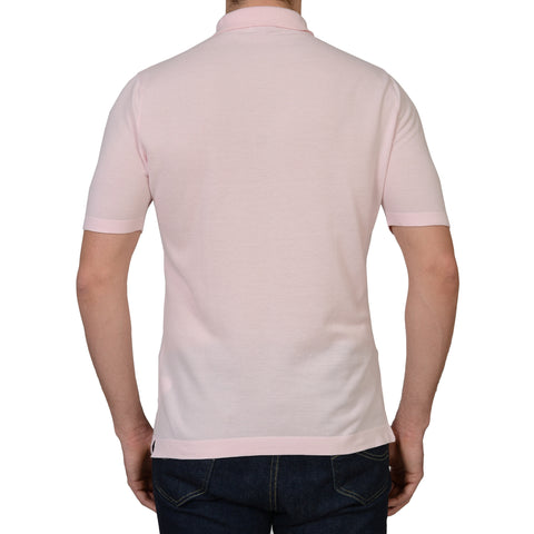 ANDERSON & SHEPPARD Pink Pique Cotton Polo Shirt NEW L