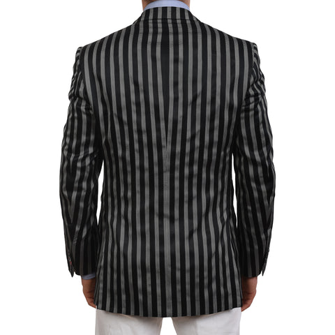 BIJAN Beverly Hills Handmade Black Striped Silk Blazer Jacket NEW Luxury