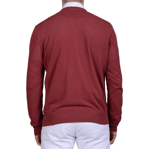BOGLIOLI Milano Burgundy Cotton Cardigan Sweater NEW Size M