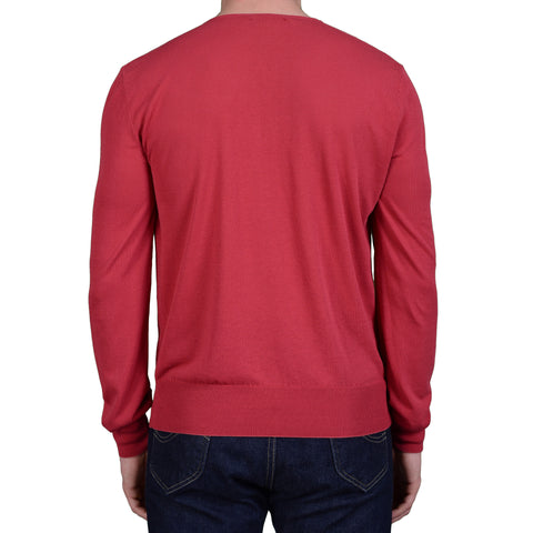BOGLIOLI Milano Red Cotton V-Neck Sweater NEW Size M