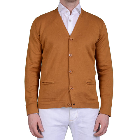 BOGLIOLI Milano Tan Cotton Knitted Cardigan Sweater NEW Size M