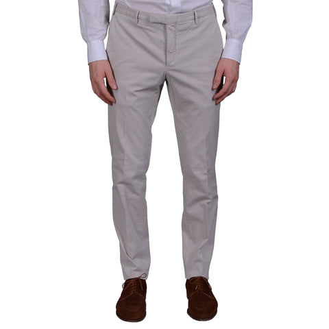 "BOGLIOLI Milano ""Wear"" Light Gray Cotton Twill Flat Front Slim Fit Pants NEW"