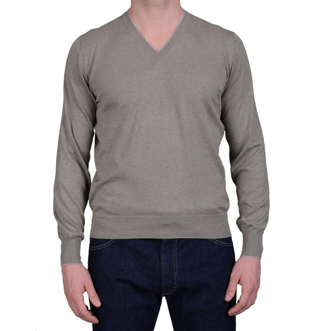 BRUNELLO CUCINELLI Khaki Cotton V-Neck Sweater US S NEW EU 48