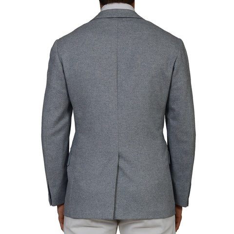 "D'AVENZA ""Alberto Jacket"" Blue Wool Angora Cashmere Blazer Jacket 48 NEW US 38"
