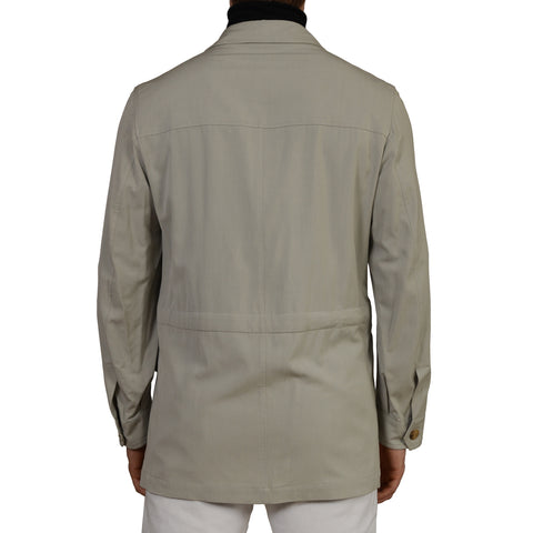 "D'AVENZA ""BANDERAS"" Gray Herringbone Silk Cotton Field Jacket Coat 50 NEW US M"
