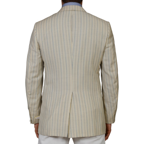D'AVENZA Beige Striped Mohair Silk Linen Cashmere Blazer Jacket EU 50 NEW US 40