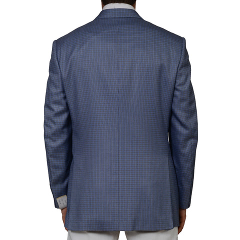 D'AVENZA Blue Gun Club Plaid Silk Wool Super 120's Blazer Jacket EU 52 NEW US 42