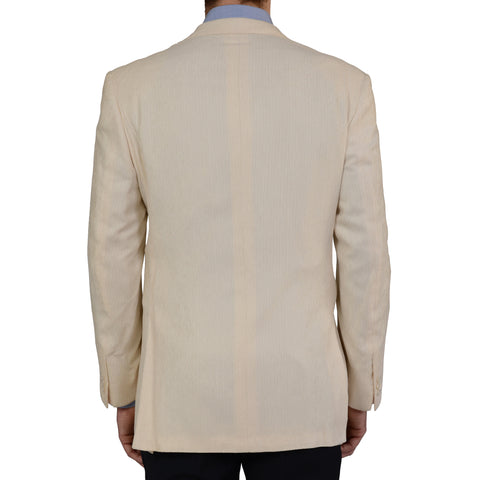 D'AVENZA For CASCELLA Handmade White Silk Corduroy Blazer Jacket EU 56 NEW US 46
