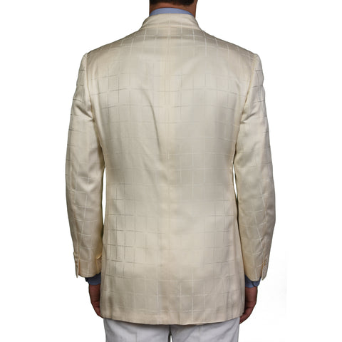 D'AVENZA For GARY ANDERSON Cream Silk 5 Button Blazer Jacket 52 NEW US 42