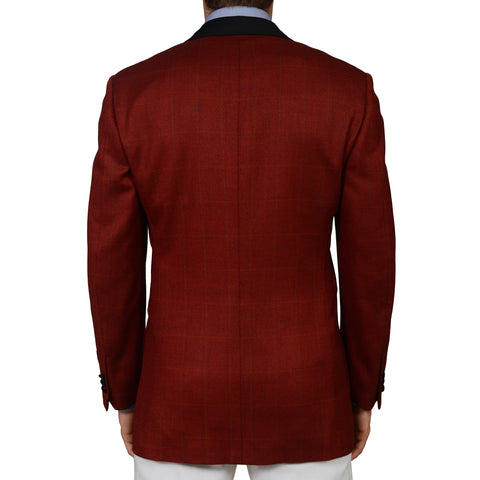 "D'AVENZA ""Gallia"" Handmade Red Wool Super 130's Blazer Jacket 50 NEW 40"