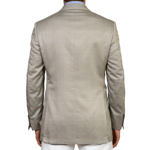 D'AVENZA Gray Herringbone Plaid Silk-Wool Super 150's Blazer Jacket 48 NEW US 38