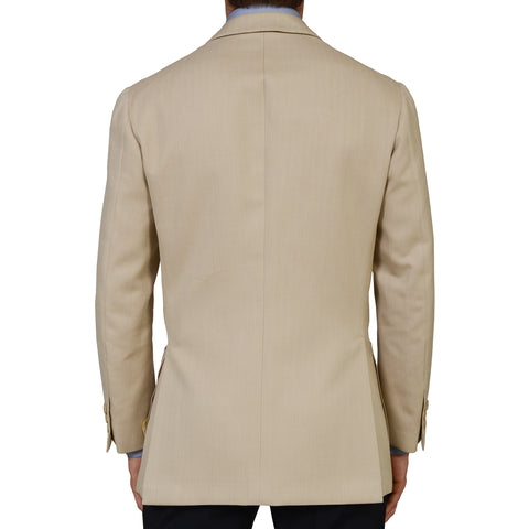 D'AVENZA Handmade Beige Herringbone Cotton Silk Blazer Jacket EU 52 NEW US 42