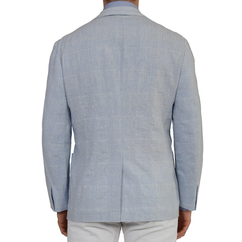 D'AVENZA Handmade Blue Wool Linen Unlined Blazer Jacket EU 50 NEW US 40