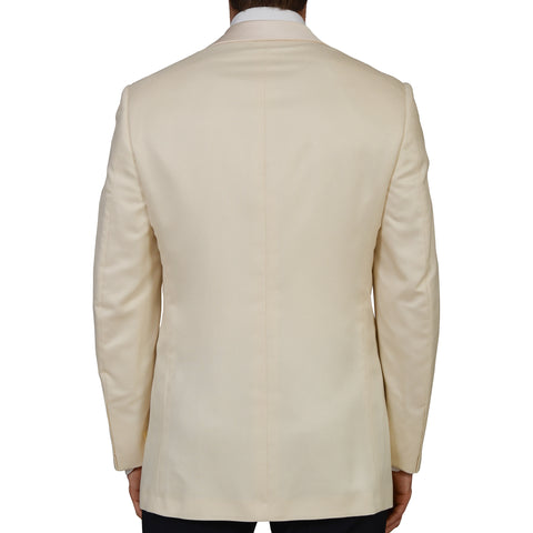 D'AVENZA Roma Handmade Cream Cashmere-Silk Dinner Jacket EU 50 NEW US 40