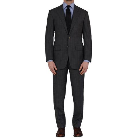 D'AVENZA Handmade Gray Striped Wool Super 120's Suit EU 48 NEW US 38