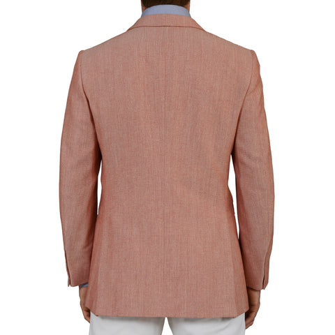 D'AVENZA Handmade Red Cotton-Silk-Wool Super 130's Blazer Jacket EU 50 NEW US 40