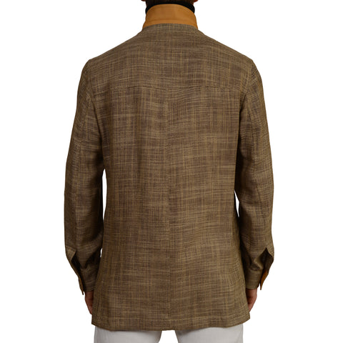 "D'AVENZA ""RAUL"" Beige Wool Silk Linen Jacket Coat Leather Trims EU 50 NEW US M"