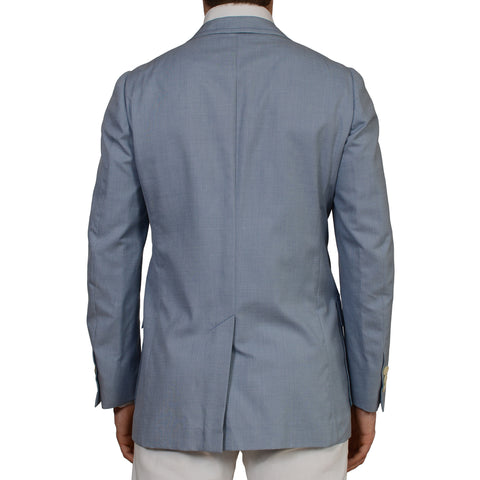 D'AVENZA Roma Blue Wool Cotton Silk Unlined Blazer Jacket EU 50 NEW US 40