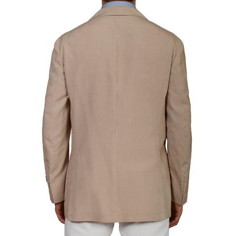 "D'AVENZA Roma ""Dakar"" Beige Striped Silk Blazer Jacket EU 50 NEW US 40"