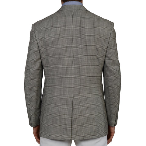 D'AVENZA Roma Gray Glen Plaid Wool-Cashmere Blazer Jacket EU 50 NEW US 40