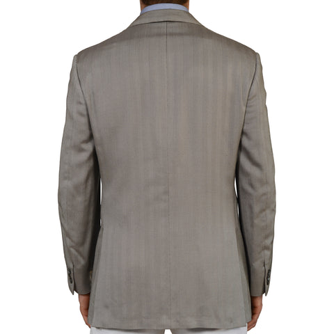 D'AVENZA Roma Gray Herringbone Silk Peak Lapel Blazer Jacket EU 52 NEW US 42