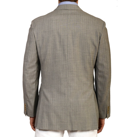 D'AVENZA Roma Gray Wool Super 120's DB Blazer Jacket EU 50 NEW US 40