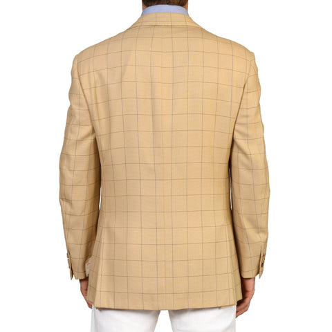 D'AVENZA Roma Handmade Beige Plaid Silk Wool Blazer Jacket EU 52 NEW US 42
