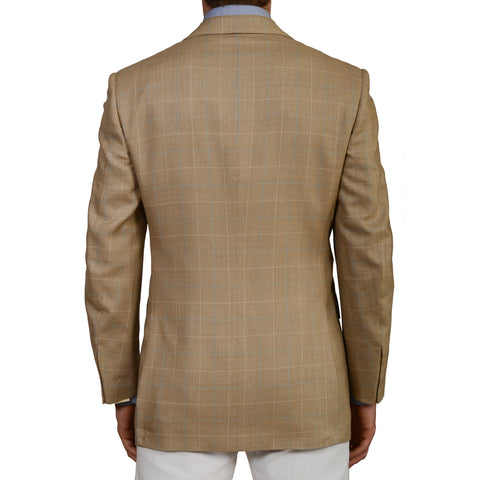 D'AVENZA Roma Handmade Beige Plaid Wool Super 130's Silk Jacket EU 50 NEW US 40