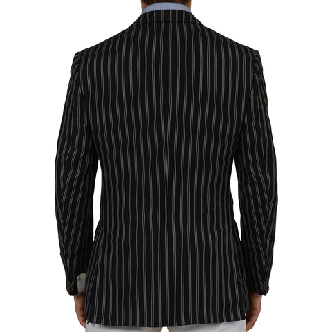 D'AVENZA Roma Handmade Black Striped Linen-Wool-Silk Blazer Jacket 50 NEW US 40