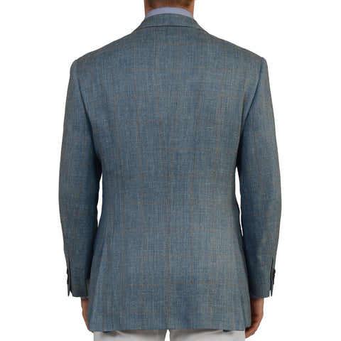 D'AVENZA Roma Handmade Blue Plaid Silk Linen Wool Blazer Jacket EU 50 NEW US 40