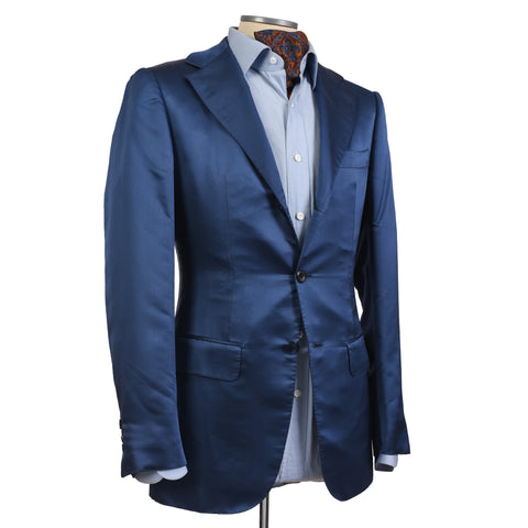 D'AVENZA Roma Handmade Blue Pure Silk Blazer Jacket EU 46 NEW US 36