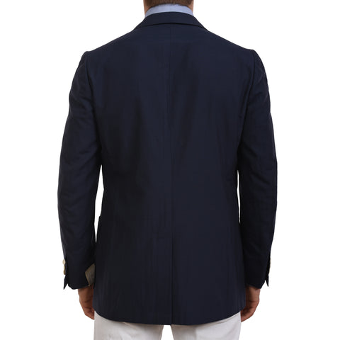 D'AVENZA Roma Handmade Blue Silk-Cotton Unlined Blazer Jacket EU 50 NEW US 40