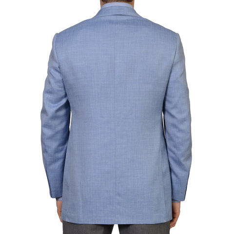 D'AVENZA Roma Handmade Blue Wool Silk Linen Blazer Jacket EU 56 NEW US 46