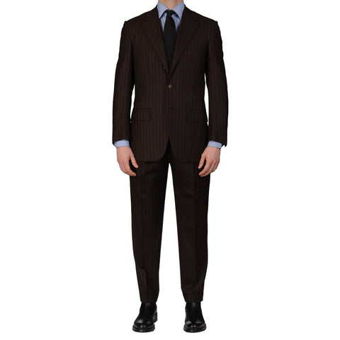 D'AVENZA Roma Handmade Striped Wool Super 120's Suit EU 48 NEW US 38