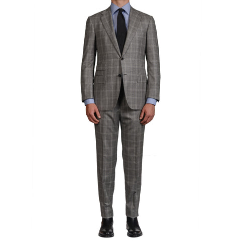 D'AVENZA Roma Handmade Gray Plaid Wool Super 130's Suit EU 52 NEW US 42