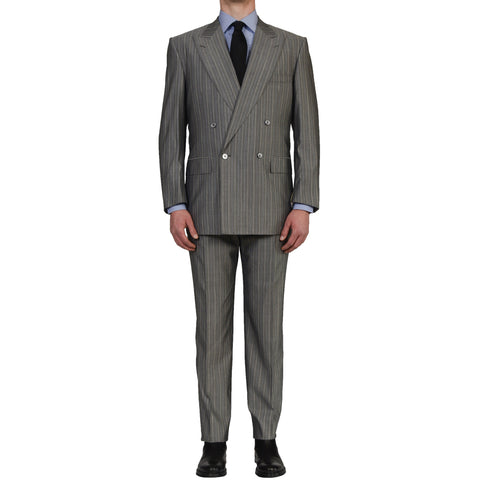 D'AVENZA Roma Handmade Gray Striped Wool Silk DB Suit EU 54 NEW US 44